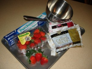 Supplies for Making Chocolate Dipped Strawberries