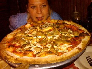 Meatball and Mushroom Pizza from Lombardi's has Annie seeimg red