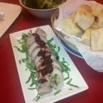 Stuffed Pork Loin with Brandied Cranberry Sauce